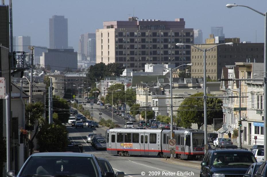 (216k, 930x618)<br><b>Country:</b> United States<br><b>City:</b> San Francisco/Bay Area, CA<br><b>System:</b> SF MUNI<br><b>Line:</b> MUNI Metro (J-Church)<br><b>Location:</b> San Jose/30th St<br><b>Car:</b> SF MUNI Breda LRV 1513 <br><b>Photo by:</b> Peter Ehrlich<br><b>Date:</b> 6/19/2009<br><b>Notes:</b> Inbound.<br><b>Viewed (this week/total):</b> 2 / 378