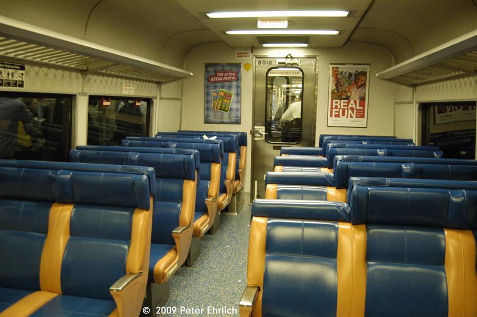 (213k, 930x618)<br><b>Country:</b> United States<br><b>City:</b> New York<br><b>System:</b> Metro-North Railroad (or Amtrak or Predecessor RR)<br><b>Line:</b> Metro-North Grand Central/Park Avenue Tunnel<br><b>Location:</b> Grand Central Terminal<br><b>Car:</b> MNRR M-3a EMU (Budd) 8016 <br><b>Photo by:</b> Peter Ehrlich<br><b>Date:</b> 7/22/2009<br><b>Notes:</b> Interior of freshly-rehabbed M3 8016.<br><b>Viewed (this week/total):</b> 0 / 1062