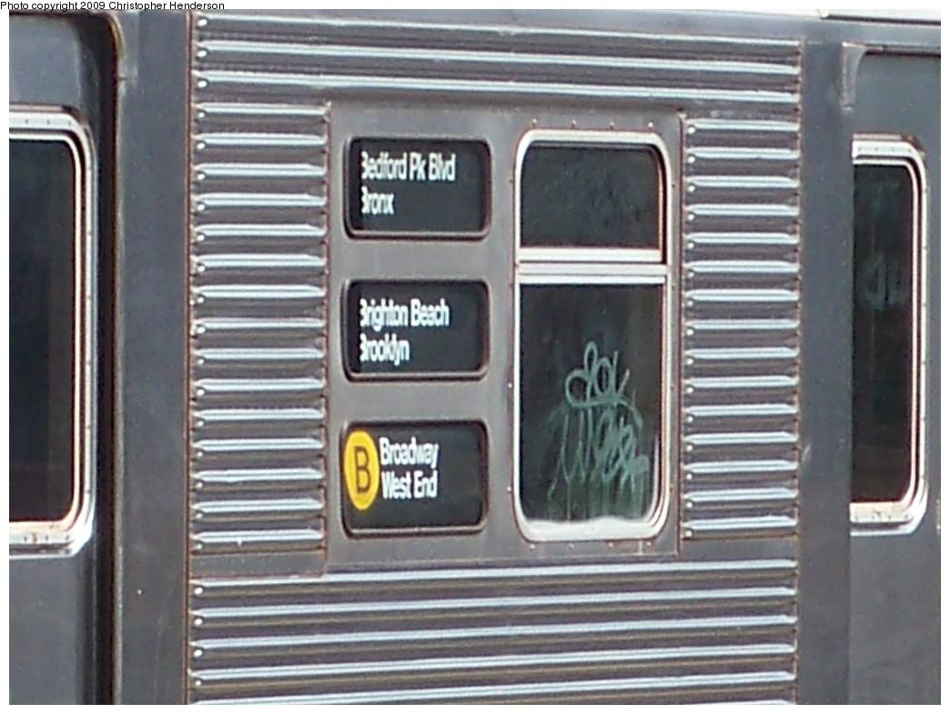(197k, 1044x785)<br><b>Country:</b> United States<br><b>City:</b> New York<br><b>System:</b> New York City Transit<br><b>Line:</b> BMT Brighton Line<br><b>Location:</b> Ocean Parkway<br><b>Route:</b> B<br><b>Car:</b> R-32 (Budd, 1964) 3891 <br><b>Photo by:</b> Christopher Henderson<br><b>Date:</b> 9/15/2009<br><b>Notes:</b> Note yellow-B circle.<br><b>Viewed (this week/total):</b> 12 / 2761