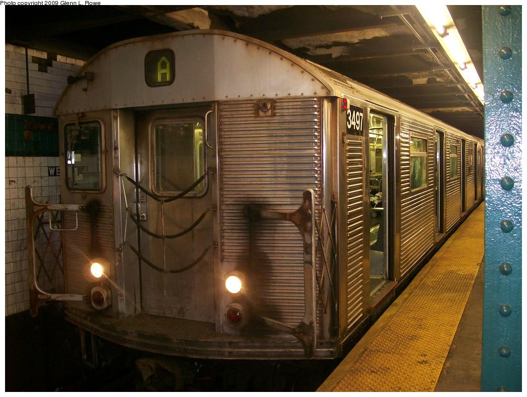 (231k, 1044x788)<br><b>Country:</b> United States<br><b>City:</b> New York<br><b>System:</b> New York City Transit<br><b>Line:</b> IND 6th Avenue Line<br><b>Location:</b> West 4th Street/Washington Square<br><b>Route:</b> A reroute<br><b>Car:</b> R-32 (Budd, 1964) 3497 <br><b>Photo by:</b> Glenn L. Rowe<br><b>Date:</b> 10/6/2009<br><b>Viewed (this week/total):</b> 3 / 1624