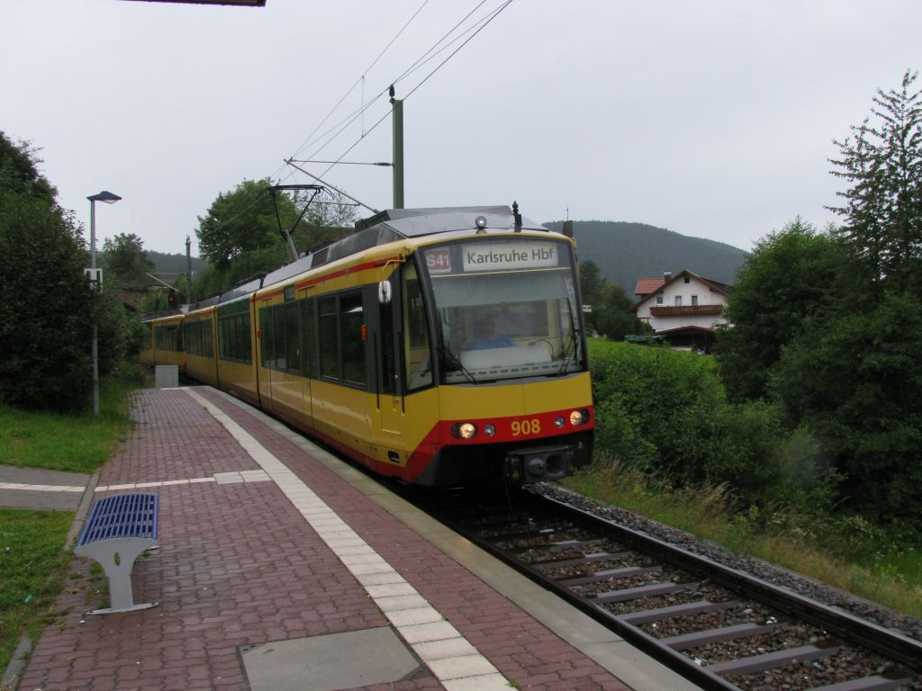 (118k, 1024x768)<br><b>Country:</b> Germany<br><b>City:</b> Karlsruhe<br><b>System:</b> AVG (Albtal Verkehrsgesellschaft)<br><b>Location:</b> Baiersbronn Schule<br><b>Route:</b> S41<br><b>Car:</b> GT8-100D/2S-M 908  <br><b>Photo by:</b> Jos Straathof<br><b>Date:</b> 7/22/2009<br><b>Viewed (this week/total):</b> 1 / 448