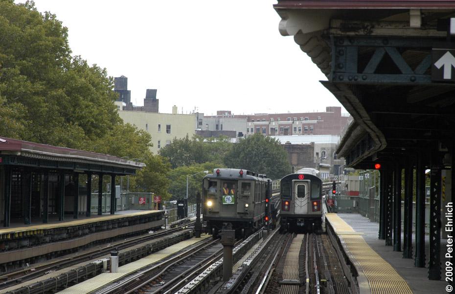(204k, 930x601)<br><b>Country:</b> United States<br><b>City:</b> New York<br><b>System:</b> New York City Transit<br><b>Line:</b> IRT White Plains Road Line<br><b>Location:</b> Jackson Avenue<br><b>Route:</b> Fan Trip<br><b>Car:</b> Low-V (Museum Train) 5443 <br><b>Photo by:</b> Peter Ehrlich<br><b>Date:</b> 10/9/2009<br><b>Notes:</b> With R142 7001 outbound.<br><b>Viewed (this week/total):</b> 1 / 1576