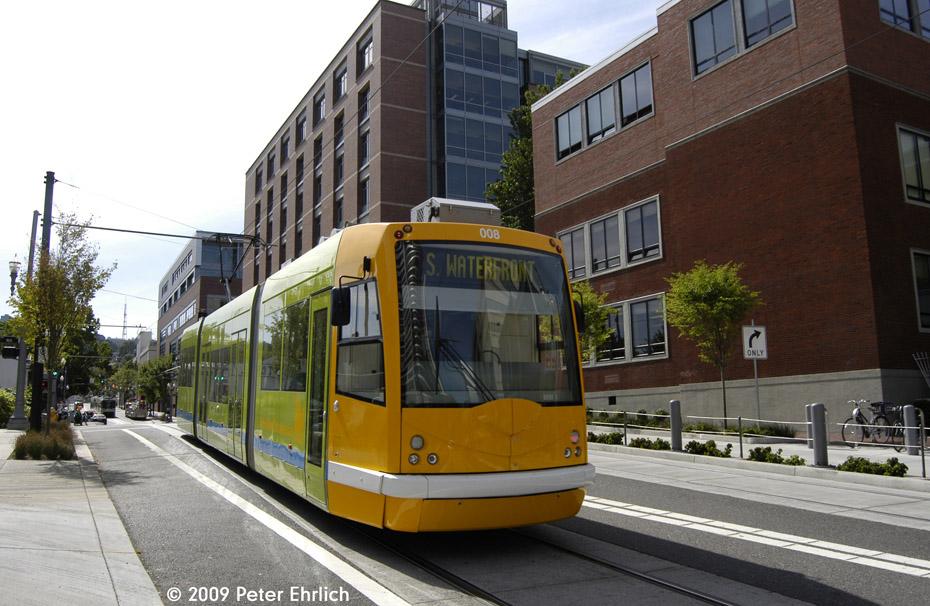 (214k, 930x606)<br><b>Country:</b> United States<br><b>City:</b> Portland, OR<br><b>System:</b> Portland Streetcar<br><b>Location:</b> SW 5th/Mill<br><b>Car:</b> DPO-Inekon 12T 008 <br><b>Photo by:</b> Peter Ehrlich<br><b>Date:</b> 9/15/2009<br><b>Notes:</b> Outbound<br><b>Viewed (this week/total):</b> 1 / 872