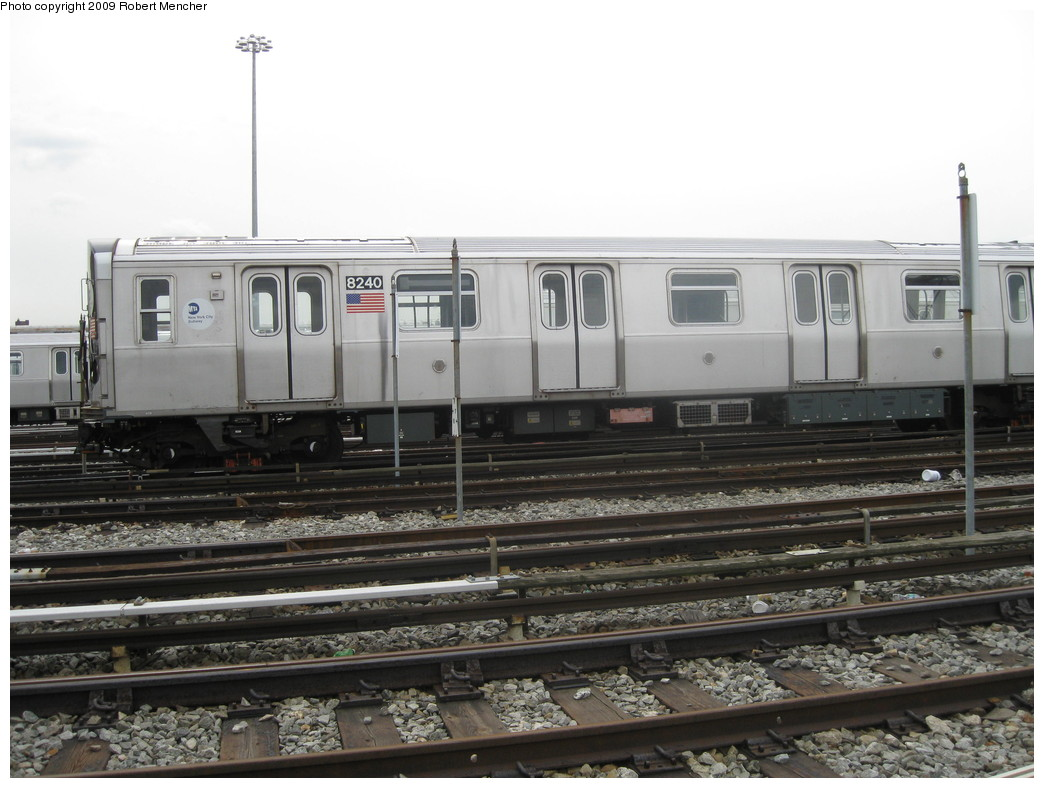 (192k, 1044x788)<br><b>Country:</b> United States<br><b>City:</b> New York<br><b>System:</b> New York City Transit<br><b>Location:</b> East New York Yard/Shops<br><b>Car:</b> R-143 (Kawasaki, 2001-2002) 8240 <br><b>Photo by:</b> Robert Mencher<br><b>Date:</b> 10/14/2009<br><b>Viewed (this week/total):</b> 7 / 1148
