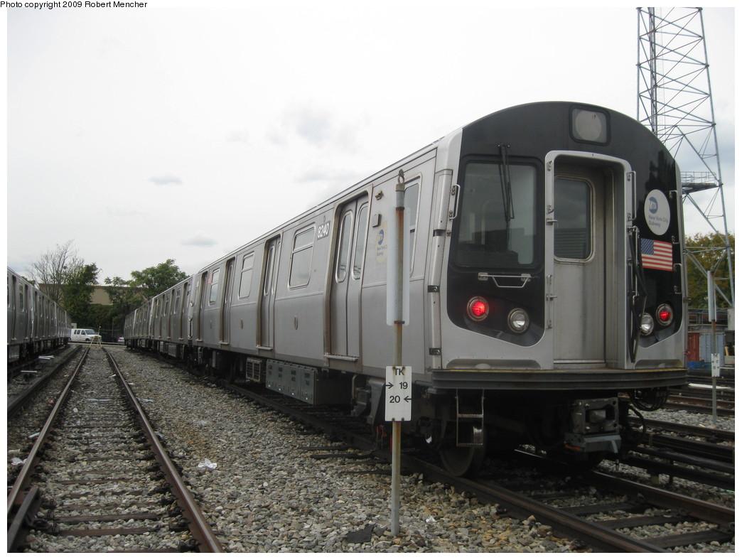 (203k, 1044x788)<br><b>Country:</b> United States<br><b>City:</b> New York<br><b>System:</b> New York City Transit<br><b>Location:</b> East New York Yard/Shops<br><b>Car:</b> R-143 (Kawasaki, 2001-2002) 8240 <br><b>Photo by:</b> Robert Mencher<br><b>Date:</b> 10/14/2009<br><b>Viewed (this week/total):</b> 6 / 940