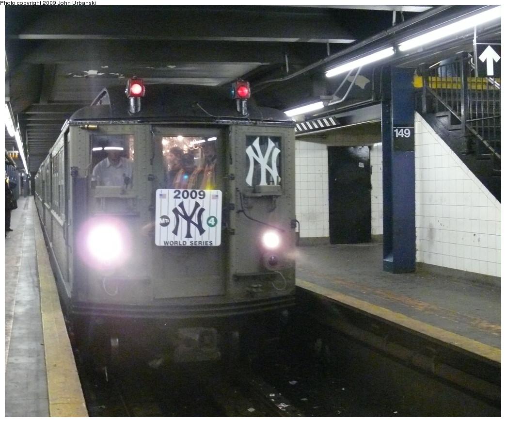 (225k, 1044x870)<br><b>Country:</b> United States<br><b>City:</b> New York<br><b>System:</b> New York City Transit<br><b>Line:</b> IRT Woodlawn Line<br><b>Location:</b> 149th Street-Grand Concourse<br><b>Route:</b> Fan Trip<br><b>Car:</b> Low-V (Museum Train)  <br><b>Photo by:</b> John Urbanski<br><b>Date:</b> 10/28/2009<br><b>Notes:</b> Yankees Special<br><b>Viewed (this week/total):</b> 0 / 2333