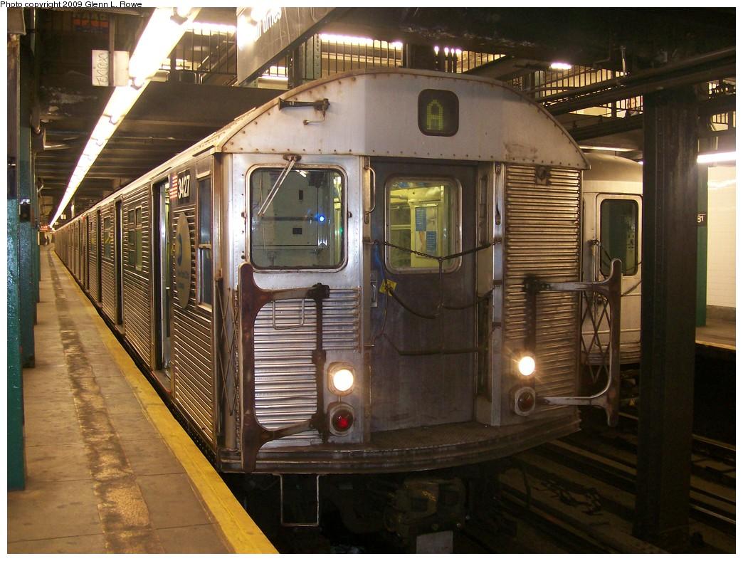 (231k, 1044x788)<br><b>Country:</b> United States<br><b>City:</b> New York<br><b>System:</b> New York City Transit<br><b>Line:</b> IND 8th Avenue Line<br><b>Location:</b> 181st Street<br><b>Route:</b> A<br><b>Car:</b> R-32 (Budd, 1964) 3427 <br><b>Photo by:</b> Glenn L. Rowe<br><b>Date:</b> 10/14/2009<br><b>Viewed (this week/total):</b> 5 / 1668