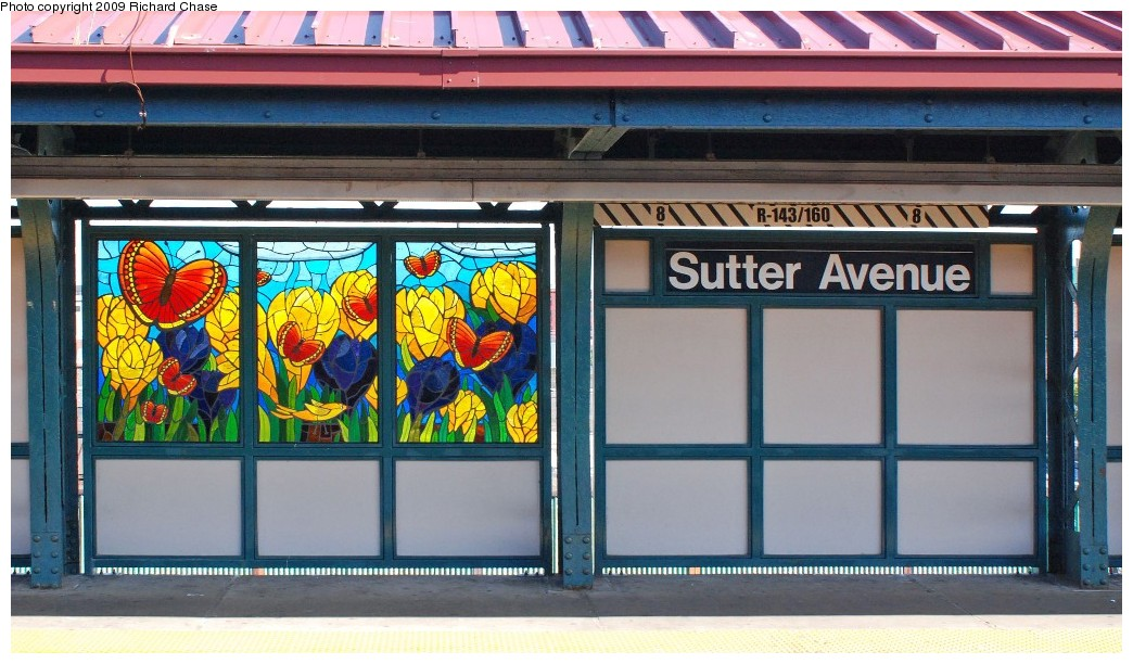 (189k, 1044x612)<br><b>Country:</b> United States<br><b>City:</b> New York<br><b>System:</b> New York City Transit<br><b>Line:</b> BMT Canarsie Line<br><b>Location:</b> Sutter Avenue<br><b>Photo by:</b> Richard Chase<br><b>Date:</b> 11/1/2009<br><b>Artwork:</b> <i>The Habitat for the Yellow Bird</i>, Takayo Noda, 2007<br><b>Viewed (this week/total):</b> 4 / 1737