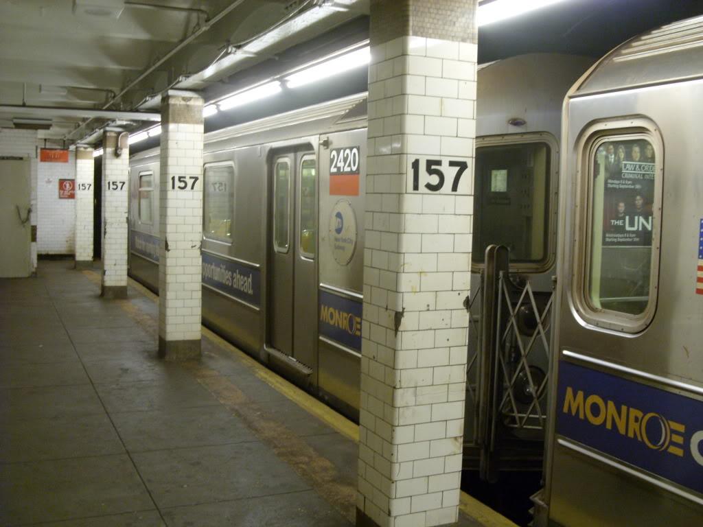 (146k, 1024x768)<br><b>Country:</b> United States<br><b>City:</b> New York<br><b>System:</b> New York City Transit<br><b>Line:</b> IRT West Side Line<br><b>Location:</b> 157th Street<br><b>Route:</b> 1<br><b>Car:</b> R-62A (Bombardier, 1984-1987) 2420 <br><b>Photo by:</b> Leonard Wilson<br><b>Date:</b> 10/6/2009<br><b>Viewed (this week/total):</b> 2 / 2601