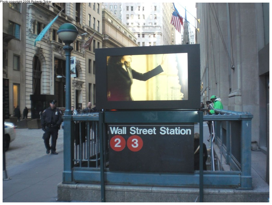 (204k, 1044x788)<br><b>Country:</b> United States<br><b>City:</b> New York<br><b>System:</b> New York City Transit<br><b>Line:</b> IRT West Side Line<br><b>Location:</b> Wall Street<br><b>Photo by:</b> Roberto C. Tobar<br><b>Date:</b> 11/6/2009<br><b>Notes:</b> Station entrance.<br><b>Viewed (this week/total):</b> 1 / 2358