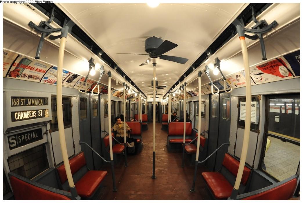 (199k, 1044x700)<br><b>Country:</b> United States<br><b>City:</b> New York<br><b>System:</b> New York City Transit<br><b>Route:</b> Museum Train Service (V)<br><b>Car:</b> R-9 (Pressed Steel, 1940) 1802 <br><b>Photo by:</b> Richard Panse<br><b>Date:</b> 12/13/2009<br><b>Viewed (this week/total):</b> 2 / 2546