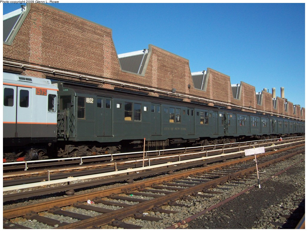 (285k, 1044x788)<br><b>Country:</b> United States<br><b>City:</b> New York<br><b>System:</b> New York City Transit<br><b>Location:</b> 207th Street Yard<br><b>Car:</b> R-9 (Pressed Steel, 1940) 1802 <br><b>Photo by:</b> Glenn L. Rowe<br><b>Date:</b> 12/17/2009<br><b>Viewed (this week/total):</b> 5 / 2574