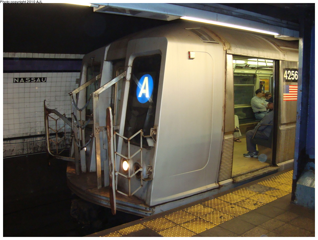 (214k, 1044x788)<br><b>Country:</b> United States<br><b>City:</b> New York<br><b>System:</b> New York City Transit<br><b>Line:</b> IND 8th Avenue Line<br><b>Location:</b> Fulton Street (Broadway/Nassau)<br><b>Route:</b> A<br><b>Car:</b> R-40 (St. Louis, 1968) 4256 <br><b>Photo by:</b> Anthony J. Liccese<br><b>Date:</b> 5/22/2009<br><b>Viewed (this week/total):</b> 1 / 3557