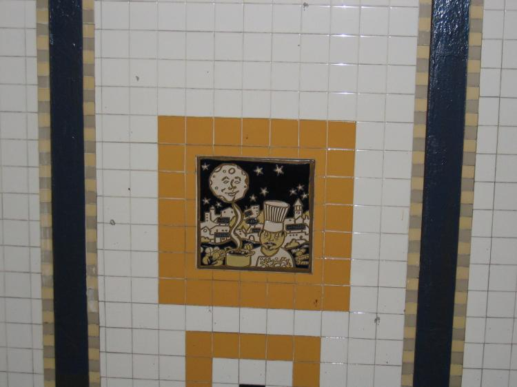 (46k, 750x562)<br><b>Country:</b> United States<br><b>City:</b> New York<br><b>System:</b> New York City Transit<br><b>Line:</b> IRT Brooklyn Line<br><b>Location:</b> Utica Avenue<br><b>Photo by:</b> Robbie Rosenfeld<br><b>Date:</b> 2/14/2005<br><b>Artwork:</b> <i>Good Morning, Good Night</i>, Hugo Consuegra, 2004<br><b>Viewed (this week/total):</b> 1 / 3263