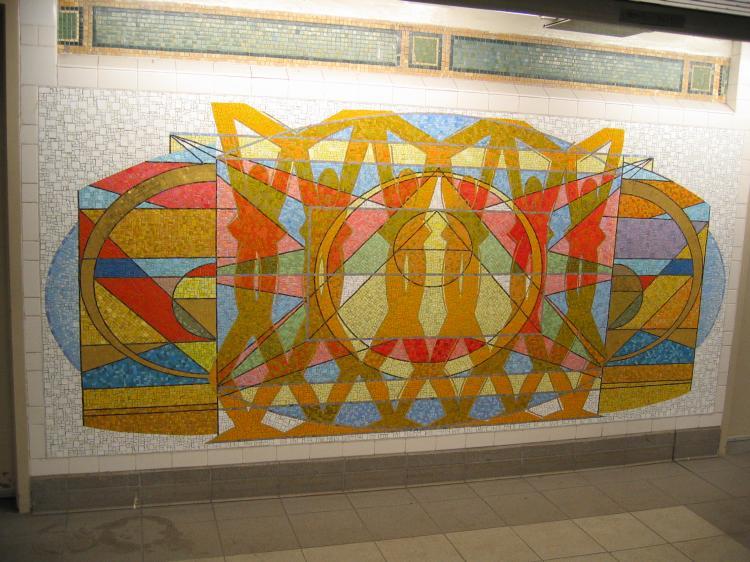 (85k, 750x562)<br><b>Country:</b> United States<br><b>City:</b> New York<br><b>System:</b> New York City Transit<br><b>Line:</b> IRT East Side Line<br><b>Location:</b> 125th Street<br><b>Photo by:</b> Robbie Rosenfeld<br><b>Date:</b> 3/1/2005<br><b>Artwork:</b> <i>Polyrhythmics of Consciousness and Light</i>, Valerie Maynard, 2002<br><b>Viewed (this week/total):</b> 4 / 5132