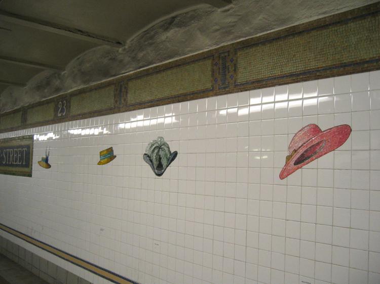(50k, 750x562)<br><b>Country:</b> United States<br><b>City:</b> New York<br><b>System:</b> New York City Transit<br><b>Line:</b> BMT Broadway Line<br><b>Location:</b> 23rd Street<br><b>Photo by:</b> Robbie Rosenfeld<br><b>Date:</b> 2/10/2005<br><b>Artwork:</b> <i>Memories of Twenty-Third Street</i>, Keith Godard, 2002<br><b>Viewed (this week/total):</b> 0 / 4257