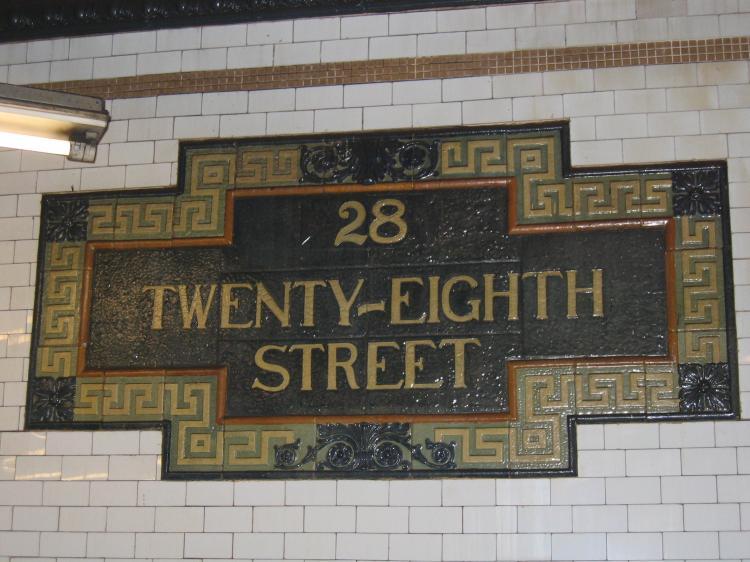 (72k, 750x562)<br><b>Country:</b> United States<br><b>City:</b> New York<br><b>System:</b> New York City Transit<br><b>Line:</b> IRT East Side Line<br><b>Location:</b> 28th Street<br><b>Photo by:</b> Robbie Rosenfeld<br><b>Date:</b> 3/2/2005<br><b>Notes:</b> Faience name tablet, Heins & LaFarge/Grueby Faience Company, 1904. Original design element, Contract 1 IRT.<br><b>Viewed (this week/total):</b> 4 / 3181