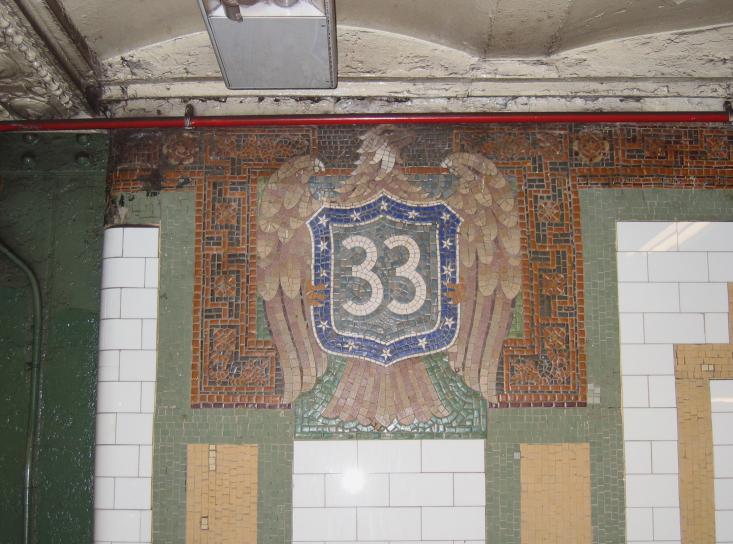 (77k, 733x544)<br><b>Country:</b> United States<br><b>City:</b> New York<br><b>System:</b> New York City Transit<br><b>Line:</b> IRT East Side Line<br><b>Location:</b> 33rd Street<br><b>Photo by:</b> Robbie Rosenfeld<br><b>Date:</b> 3/1/2005<br><b>Notes:</b> Tile plaque, Heins & LaFarge/John H. Parry Co., 1904. Original design element, Contract 1 IRT.<br><b>Viewed (this week/total):</b> 0 / 3312