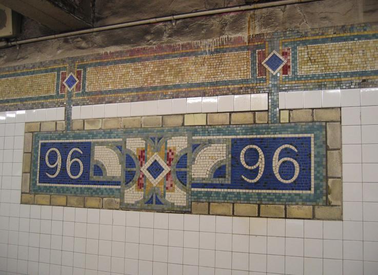 (75k, 737x535)<br><b>Country:</b> United States<br><b>City:</b> New York<br><b>System:</b> New York City Transit<br><b>Line:</b> IRT East Side Line<br><b>Location:</b> 96th Street<br><b>Photo by:</b> Robbie Rosenfeld<br><b>Date:</b> 3/1/2005<br><b>Artwork:</b> <i>City Suite</i>, Laura Bradley, 1994<br><b>Viewed (this week/total):</b> 2 / 3911