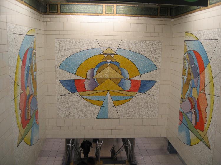 (71k, 750x562)<br><b>Country:</b> United States<br><b>City:</b> New York<br><b>System:</b> New York City Transit<br><b>Line:</b> IRT East Side Line<br><b>Location:</b> 125th Street<br><b>Photo by:</b> Robbie Rosenfeld<br><b>Date:</b> 3/1/2005<br><b>Artwork:</b> <i>Polyrhythmics of Consciousness and Light</i>, Valerie Maynard, 2002<br><b>Viewed (this week/total):</b> 4 / 3558