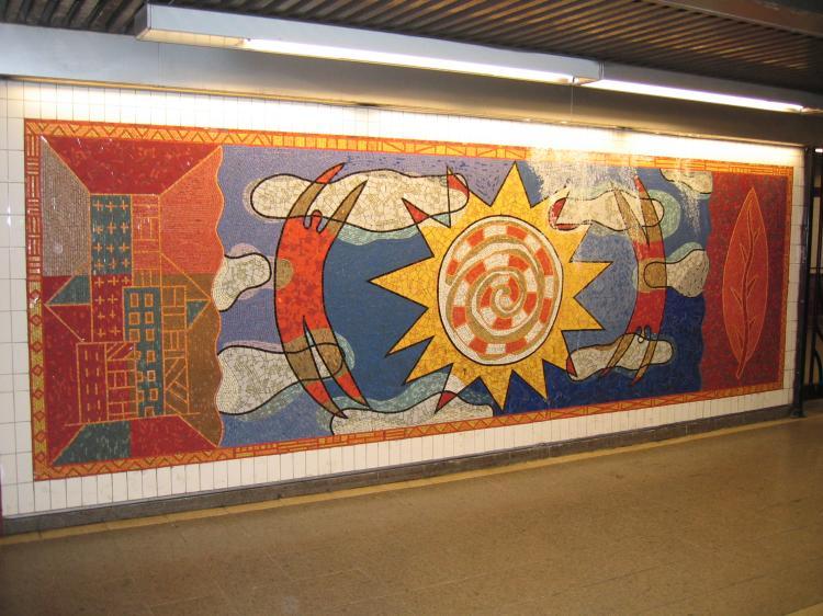 (84k, 750x562)<br><b>Country:</b> United States<br><b>City:</b> New York<br><b>System:</b> New York City Transit<br><b>Line:</b> IRT White Plains Road Line<br><b>Location:</b> 3rd Avenue/149th Street<br><b>Photo by:</b> Robbie Rosenfeld<br><b>Date:</b> 2/8/2005<br><b>Artwork:</b> <i>Una Raza, Un Mundo, Universo (One Race, One World, One Universe)</i>, José Ortega, 1996<br><b>Viewed (this week/total):</b> 0 / 3948
