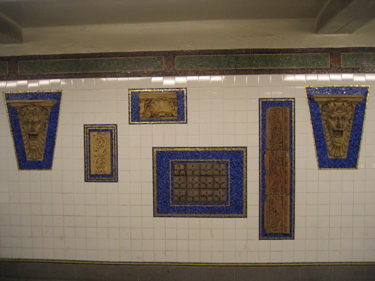 (59k, 750x562)<br><b>Country:</b> United States<br><b>City:</b> New York<br><b>System:</b> New York City Transit<br><b>Line:</b> IRT Brooklyn Line<br><b>Location:</b> Eastern Parkway/Brooklyn Museum<br><b>Photo by:</b> Robbie Rosenfeld<br><b>Date:</b> 3/21/2005<br><b>Artwork:</b> <i>New York City Architectural Artifacts from the Collection of the Brooklyn Museum</i>, MTA Arts For Transit Collaborative, 2004<br><b>Viewed (this week/total):</b> 1 / 4187