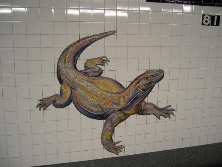 (51k, 750x562)<br><b>Country:</b> United States<br><b>City:</b> New York<br><b>System:</b> New York City Transit<br><b>Line:</b> IND 8th Avenue Line<br><b>Location:</b> 81st Street/Museum of Natural History<br><b>Photo by:</b> Robbie Rosenfeld<br><b>Date:</b> 2/14/2005<br><b>Artwork:</b> <i>For Want of a Nail</i>, MTA Arts For Transit Collaborative, 1999<br><b>Notes:</b> Lizard panel.<br><b>Viewed (this week/total):</b> 0 / 10030