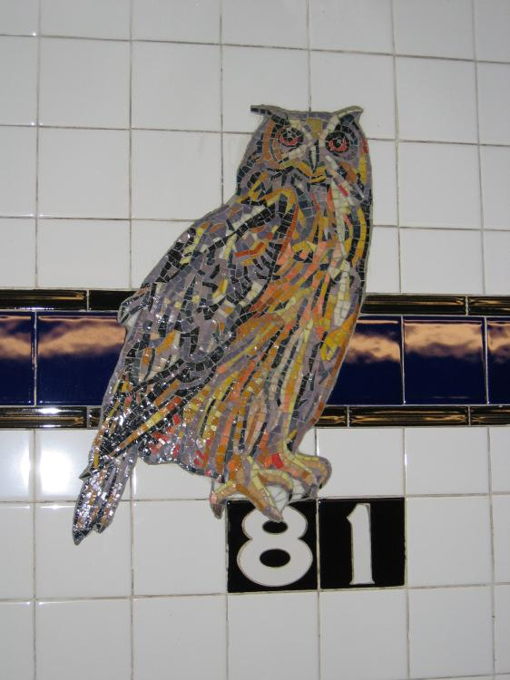 (59k, 562x750)<br><b>Country:</b> United States<br><b>City:</b> New York<br><b>System:</b> New York City Transit<br><b>Line:</b> IND 8th Avenue Line<br><b>Location:</b> 81st Street/Museum of Natural History<br><b>Photo by:</b> Robbie Rosenfeld<br><b>Date:</b> 2/14/2005<br><b>Artwork:</b> <i>For Want of a Nail</i>, MTA Arts For Transit Collaborative, 1999<br><b>Notes:</b> Owl panel.<br><b>Viewed (this week/total):</b> 0 / 10123