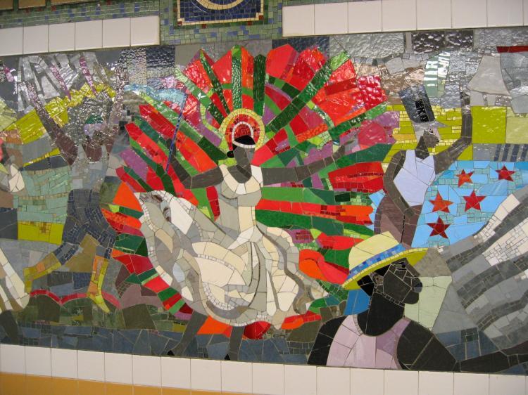 (95k, 750x562)<br><b>Country:</b> United States<br><b>City:</b> New York<br><b>System:</b> New York City Transit<br><b>Line:</b> IRT Brooklyn Line<br><b>Location:</b> Church Avenue<br><b>Photo by:</b> Robbie Rosenfeld<br><b>Date:</b> 2/13/2005<br><b>Artwork:</b> <i>Transitions</i>, Louis Delsarte, 2001<br><b>Viewed (this week/total):</b> 1 / 3913