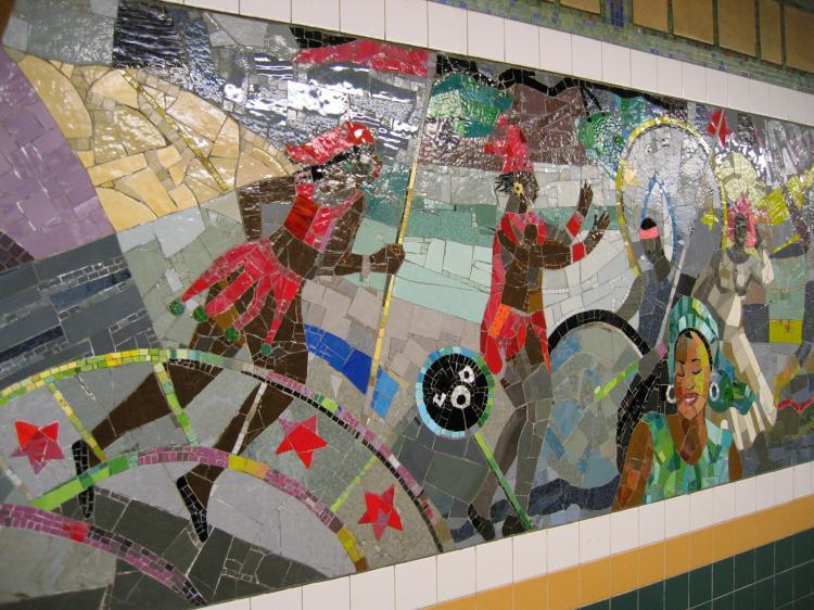 (98k, 750x562)<br><b>Country:</b> United States<br><b>City:</b> New York<br><b>System:</b> New York City Transit<br><b>Line:</b> IRT Brooklyn Line<br><b>Location:</b> Church Avenue<br><b>Photo by:</b> Robbie Rosenfeld<br><b>Date:</b> 2/13/2005<br><b>Artwork:</b> <i>Transitions</i>, Louis Delsarte, 2001<br><b>Viewed (this week/total):</b> 1 / 4024