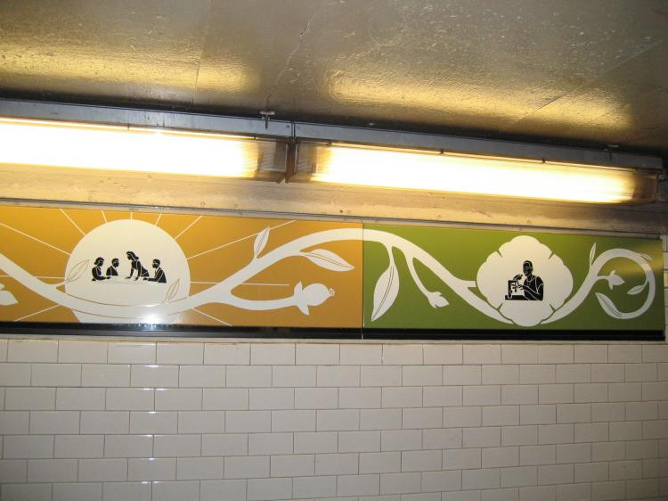 (57k, 750x562)<br><b>Country:</b> United States<br><b>City:</b> New York<br><b>System:</b> New York City Transit<br><b>Line:</b> IRT Brooklyn Line<br><b>Location:</b> Nevins Street<br><b>Photo by:</b> Robbie Rosenfeld<br><b>Date:</b> 3/21/2005<br><b>Artwork:</b> <i>Work & Nature</i>, Anton van Dalen, 1997<br><b>Viewed (this week/total):</b> 1 / 4992