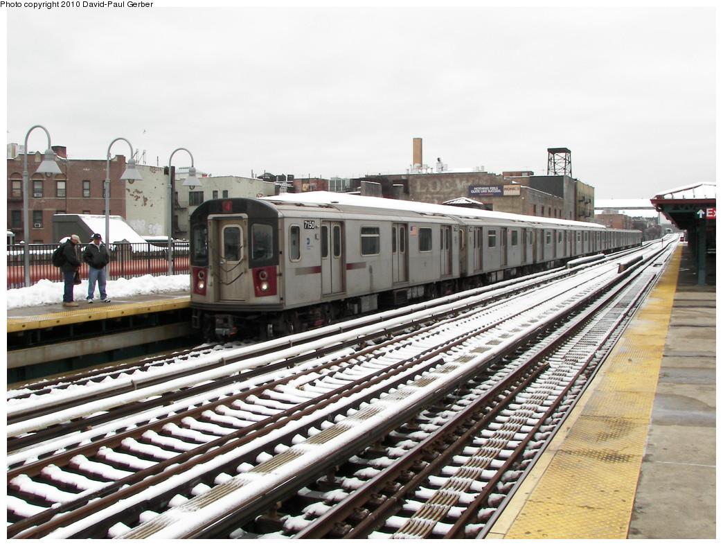 (295k, 1044x788)<br><b>Country:</b> United States<br><b>City:</b> New York<br><b>System:</b> New York City Transit<br><b>Line:</b> IRT Woodlawn Line<br><b>Location:</b> Fordham Road<br><b>Route:</b> 4<br><b>Car:</b> R-142 (Option Order, Bombardier, 2002-2003) 7150 <br><b>Photo by:</b> David-Paul Gerber<br><b>Date:</b> 2/27/2010<br><b>Notes:</b> Note the Loews theater (Loews Fordham?). Loews had the Fordham and the famous Paradise theater within 4 blocks apart.<br><b>Viewed (this week/total):</b> 3 / 1901