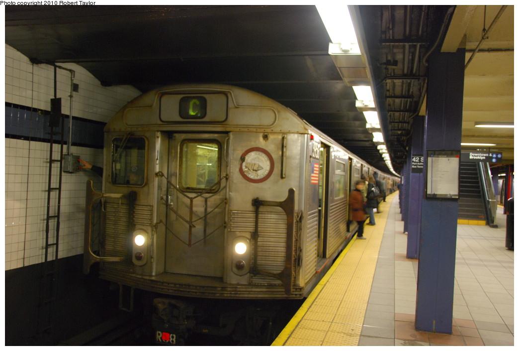 (228k, 1044x705)<br><b>Country:</b> United States<br><b>City:</b> New York<br><b>System:</b> New York City Transit<br><b>Line:</b> IND 8th Avenue Line<br><b>Location:</b> 42nd Street/Port Authority Bus Terminal<br><b>Route:</b> C<br><b>Car:</b> R-38 (St. Louis, 1966-1967) 3956 <br><b>Photo by:</b> Robert Taylor<br><b>Date:</b> 12/7/2008<br><b>Viewed (this week/total):</b> 0 / 2202
