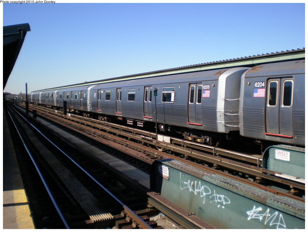 (217k, 1044x788)<br><b>Country:</b> United States<br><b>City:</b> New York<br><b>System:</b> New York City Transit<br><b>Line:</b> IND Fulton Street Line<br><b>Location:</b> Rockaway Boulevard<br><b>Route:</b> A<br><b>Car:</b> R-46 (Pullman-Standard, 1974-75) 6205 <br><b>Photo by:</b> John Dooley<br><b>Date:</b> 3/6/2010<br><b>Viewed (this week/total):</b> 1 / 1084