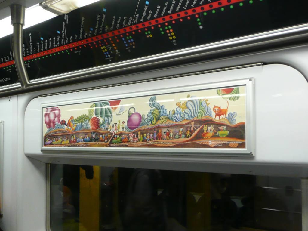 (87k, 1024x768)<br><b>Country:</b> United States<br><b>City:</b> New York<br><b>System:</b> New York City Transit<br><b>Location:</b> Subway Car Interior Art<br><b>Photo by:</b> Robbie Rosenfeld<br><b>Date:</b> 2/3/2010<br><b>Artwork:</b> <i>Garden Dwellers</i>, Andrea Deszö, 2009<br><b>Viewed (this week/total):</b> 7 / 2375