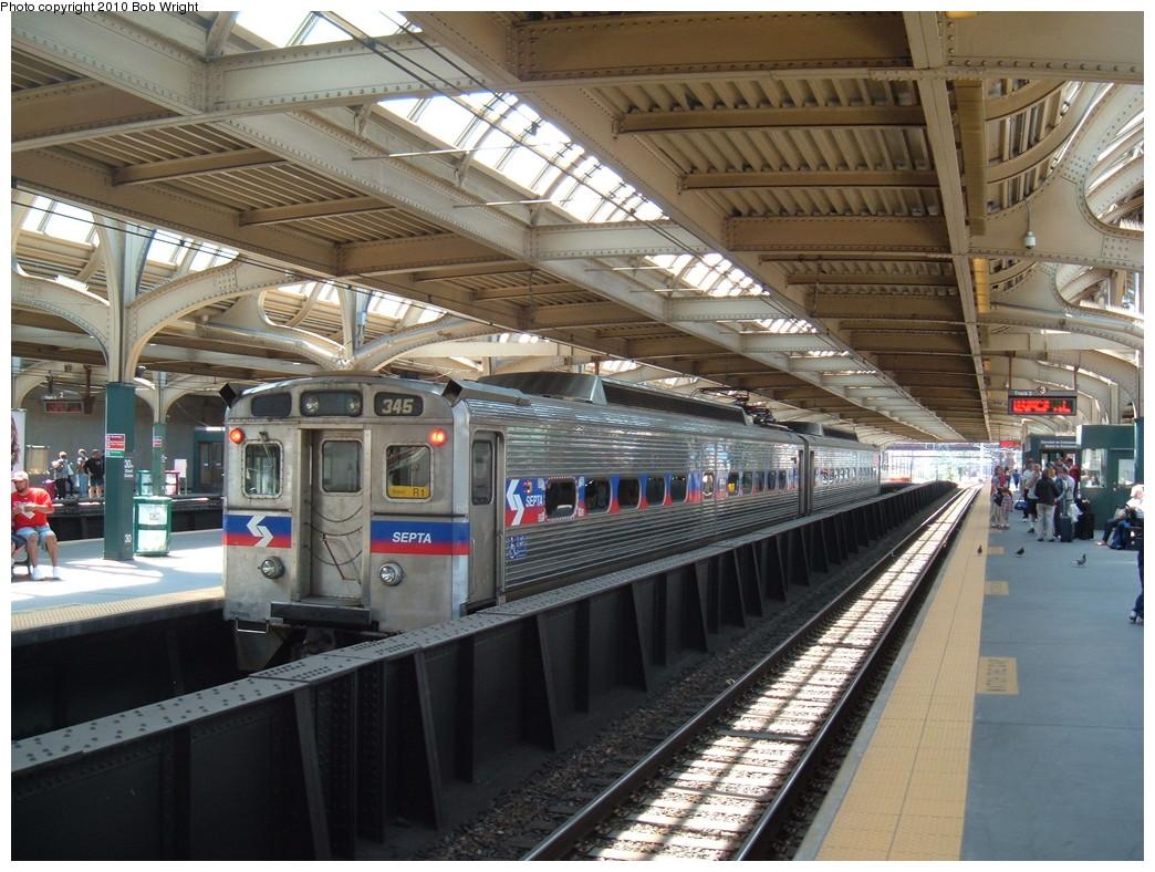 (269k, 1044x788)<br><b>Country:</b> United States<br><b>City:</b> Philadelphia, PA<br><b>System:</b> SEPTA Regional Rail<br><b>Line:</b> SEPTA Regional Rail-Center City<br><b>Location:</b> 30th Street Station<br><b>Car:</b> SEPTA Silverliner IV (GE, 1974-75) 345 <br><b>Photo by:</b> Bob Wright<br><b>Date:</b> 5/11/2010<br><b>Viewed (this week/total):</b> 0 / 567