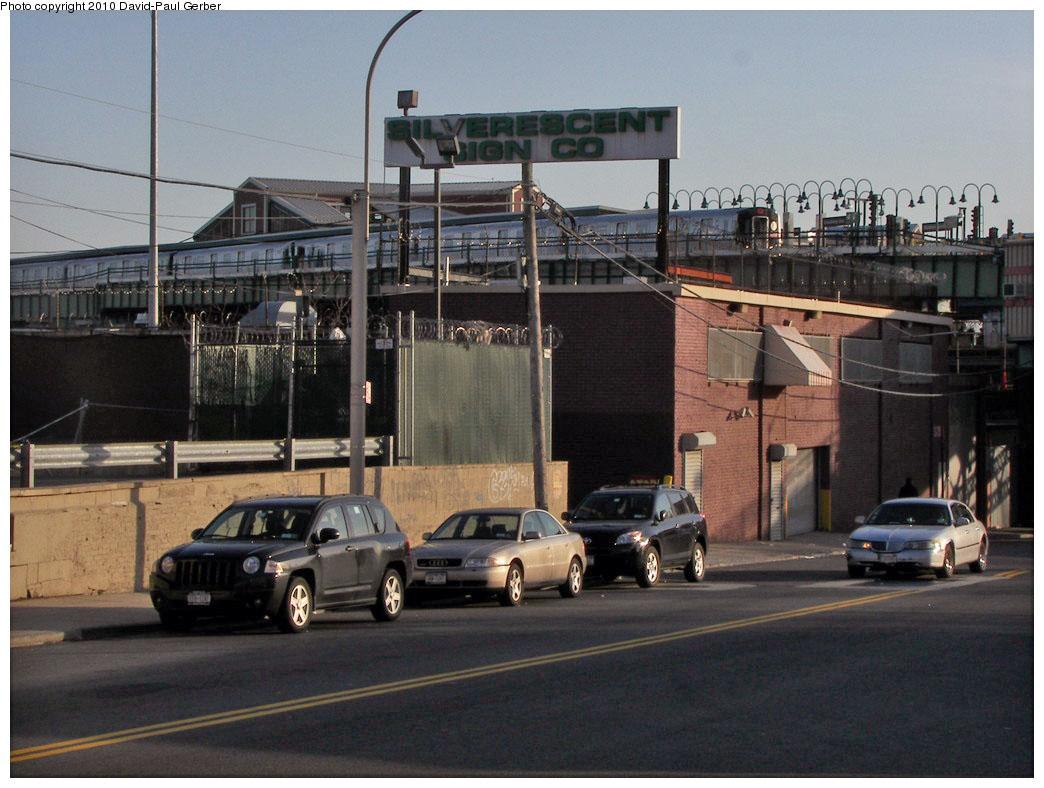 (186k, 1044x788)<br><b>Country:</b> United States<br><b>City:</b> New York<br><b>System:</b> New York City Transit<br><b>Line:</b> BMT Canarsie Line<br><b>Location:</b> Broadway Junction<br><b>Route:</b> L<br><b>Car:</b> R-143 (Kawasaki, 2001-2002)  <br><b>Photo by:</b> David-Paul Gerber<br><b>Date:</b> 4/2/2010<br><b>Notes:</b> On Bushwick Ave at Conway Street. Manhattan bound train.<br><b>Viewed (this week/total):</b> 1 / 2030