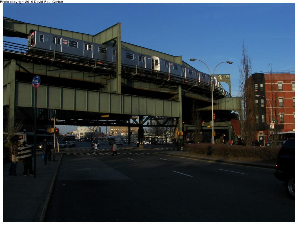 (226k, 1044x788)<br><b>Country:</b> United States<br><b>City:</b> New York<br><b>System:</b> New York City Transit<br><b>Line:</b> BMT Nassau Street-Jamaica Line<br><b>Location:</b> Alabama Avenue<br><b>Route:</b> J<br><b>Car:</b> R-160A-1 (Alstom, 2005-2008, 4 car sets) 8569 <br><b>Photo by:</b> David-Paul Gerber<br><b>Date:</b> 4/2/2010<br><b>Notes:</b> On East New York Ave at B12 bus stop.<br><b>Viewed (this week/total):</b> 2 / 1894