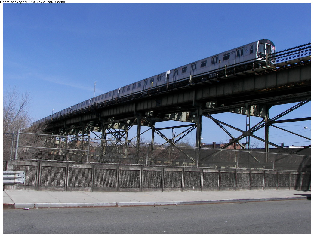 (273k, 1044x788)<br><b>Country:</b> United States<br><b>City:</b> New York<br><b>System:</b> New York City Transit<br><b>Line:</b> BMT Canarsie Line<br><b>Location:</b> Sutter Avenue<br><b>Route:</b> L<br><b>Car:</b> R-160A-1 (Alstom, 2005-2008, 4 car sets) 8345 <br><b>Photo by:</b> David-Paul Gerber<br><b>Date:</b> 4/3/2010<br><b>Notes:</b> On Glenmore Ave and Junius St, Rockaway Parkway-bound train.<br><b>Viewed (this week/total):</b> 0 / 1830