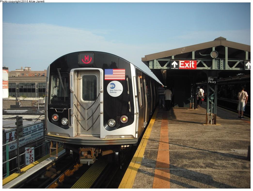 (203k, 1044x788)<br><b>Country:</b> United States<br><b>City:</b> New York<br><b>System:</b> New York City Transit<br><b>Line:</b> BMT West End Line<br><b>Location:</b> Bay Parkway<br><b>Route:</b> M<br><b>Car:</b> R-160A-1 (Alstom, 2005-2008, 4 car sets)  <br><b>Photo by:</b> Alize Jarrett<br><b>Date:</b> 6/24/2010<br><b>Viewed (this week/total):</b> 0 / 1413