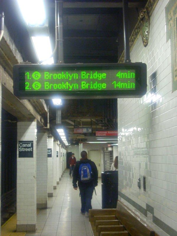 (115k, 600x800)<br><b>Country:</b> United States<br><b>City:</b> New York<br><b>System:</b> New York City Transit<br><b>Line:</b> IRT East Side Line<br><b>Location:</b> Canal Street<br><b>Photo by:</b> Bill E.<br><b>Date:</b> 4/23/2010<br><b>Notes:</b> New train arrival information display at Canal Street downtown platform (6)<br><b>Viewed (this week/total):</b> 1 / 2233