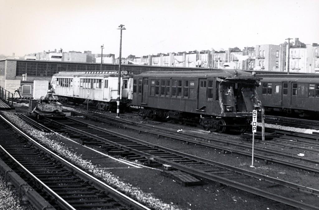 (188k, 1024x675)<br><b>Country:</b> United States<br><b>City:</b> New York<br><b>System:</b> New York City Transit<br><b>Location:</b> Fresh Pond Yard<br><b>Car:</b> BMT Q 1609 <br><b>Collection of:</b> George Conrad Collection<br><b>Date:</b> 1/15/1966<br><b>Notes:</b> With Ex-Sirt 2925<br><b>Viewed (this week/total):</b> 15 / 4470