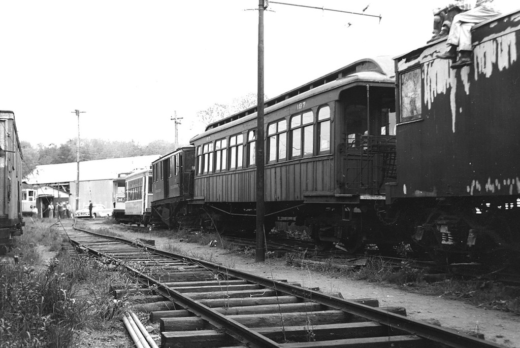 (172k, 1024x686)<br><b>Country:</b> United States<br><b>City:</b> East Haven/Branford, Ct.<br><b>System:</b> Shore Line Trolley Museum<br><b>Car:</b> BMT Elevated Gate Car 197 <br><b>Collection of:</b> George Conrad Collection<br><b>Date:</b> 1956<br><b>Viewed (this week/total):</b> 11 / 2440