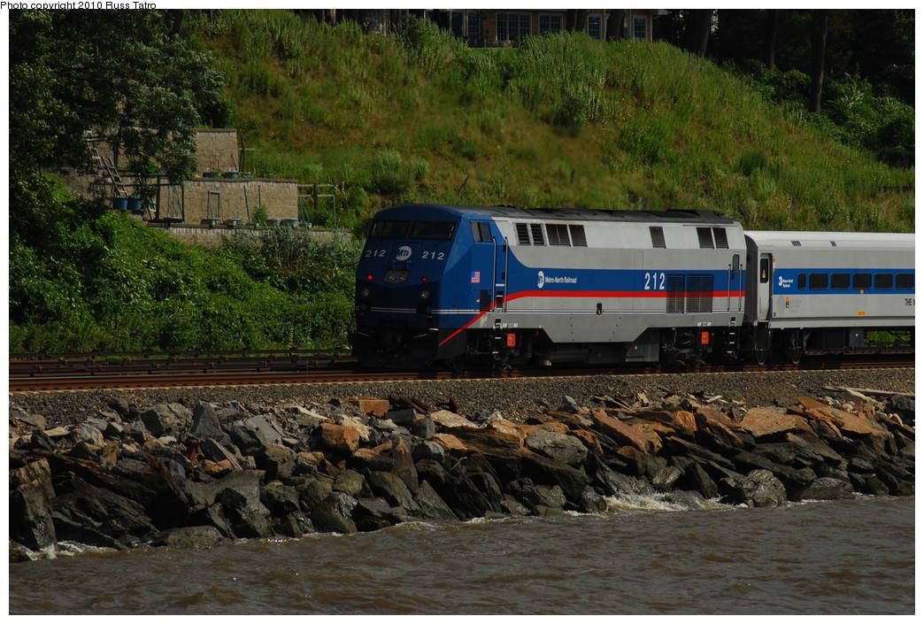 (326k, 1044x705)<br><b>Country:</b> United States<br><b>System:</b> Metro-North Railroad (or Amtrak or Predecessor RR)<br><b>Line:</b> Metro North-Hudson Line<br><b>Location:</b> Scarborough<br><b>Car:</b> MNRR GE Genesis P-32AC-DM 212 <br><b>Photo by:</b> Russ Tatro<br><b>Date:</b> 7/22/2010<br><b>Viewed (this week/total):</b> 1 / 663