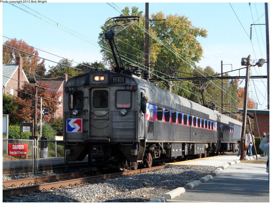 (349k, 1044x788)<br><b>Country:</b> United States<br><b>City:</b> Philadelphia, PA<br><b>System:</b> SEPTA Regional Rail<br><b>Line:</b> SEPTA R3<br><b>Location:</b> Gladstone<br><b>Route:</b> Fan Trip<br><b>Car:</b> SEPTA Silverliner II (Ex-RDG) (Budd, 1963) 9001 <br><b>Photo by:</b> Bob Wright<br><b>Date:</b> 10/24/2010<br><b>Viewed (this week/total):</b> 1 / 444