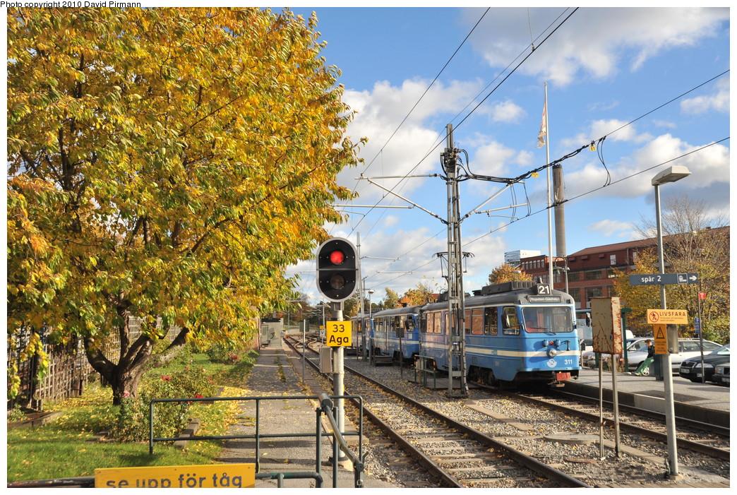 (418k, 1044x701)<br><b>Country:</b> Sweden<br><b>City:</b> Stockholm<br><b>System:</b> Storstockholms Lokaltrafik<br><b>Line:</b> Lidingöbanan<br><b>Location:</b> AGA<br><b>Car:</b>  311 <br><b>Photo by:</b> David Pirmann<br><b>Date:</b> 10/14/2010<br><b>Viewed (this week/total):</b> 1 / 717