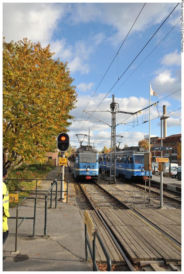(344k, 701x1044)<br><b>Country:</b> Sweden<br><b>City:</b> Stockholm<br><b>System:</b> Storstockholms Lokaltrafik<br><b>Line:</b> Lidingöbanan<br><b>Location:</b> AGA<br><b>Car:</b>  318/311 <br><b>Photo by:</b> David Pirmann<br><b>Date:</b> 10/14/2010<br><b>Viewed (this week/total):</b> 1 / 804