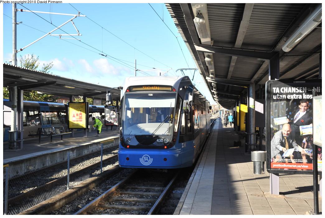 (291k, 1044x701)<br><b>Country:</b> Sweden<br><b>City:</b> Stockholm<br><b>System:</b> Storstockholms Lokaltrafik<br><b>Line:</b> Nockebybanan<br><b>Location:</b> Alvik<br><b>Car:</b> Flexity Swift SL Class A32 (Adtranz/Bombardier, 1999-2009) 430 <br><b>Photo by:</b> David Pirmann<br><b>Date:</b> 10/14/2010<br><b>Notes:</b> Tram on inbound platform at Alvik.<br><b>Viewed (this week/total):</b> 5 / 954