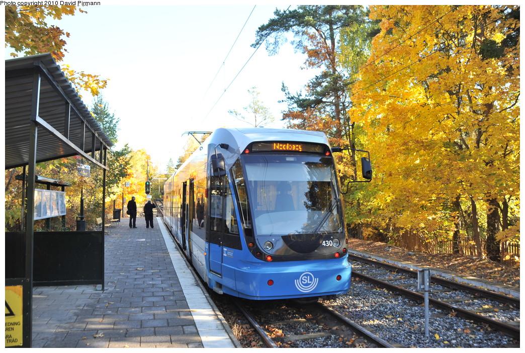 (385k, 1044x701)<br><b>Country:</b> Sweden<br><b>City:</b> Stockholm<br><b>System:</b> Storstockholms Lokaltrafik<br><b>Line:</b> Nockebybanan<br><b>Location:</b> Nockeby<br><b>Car:</b> Flexity Swift SL Class A32 (Adtranz/Bombardier, 1999-2009) 430 <br><b>Photo by:</b> David Pirmann<br><b>Date:</b> 10/14/2010<br><b>Notes:</b> Nockeby terminal. The track at right is for storage and has no platform face.<br><b>Viewed (this week/total):</b> 2 / 1008