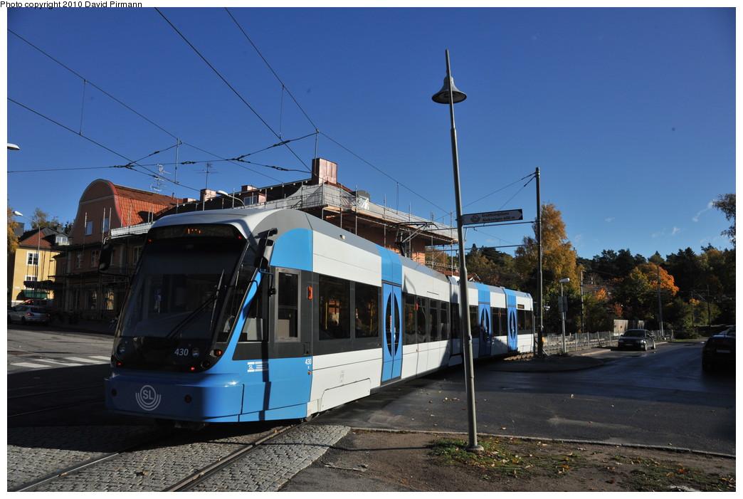 (245k, 1044x701)<br><b>Country:</b> Sweden<br><b>City:</b> Stockholm<br><b>System:</b> Storstockholms Lokaltrafik<br><b>Line:</b> Nockebybanan<br><b>Location:</b> Ålstensgatan<br><b>Car:</b> Flexity Swift SL Class A32 (Adtranz/Bombardier, 1999-2009) 430 <br><b>Photo by:</b> David Pirmann<br><b>Date:</b> 10/14/2010<br><b>Notes:</b> Inbound.<br><b>Viewed (this week/total):</b> 4 / 902